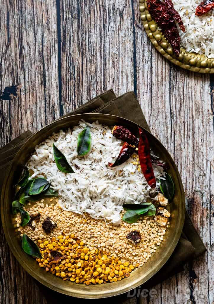 Dry coconut chutney powder or kobbari chutney pudi is a famous condiment in most part of south India. Dry condiment served with idli and dosa. #coconut #southIndia #condiments #vegan