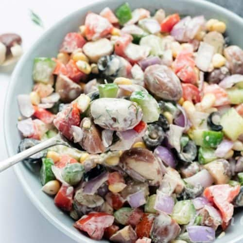 Jackfruit seed vegetable salad is protein rich wholesome meal. Wonderful health benefits of jackfruit seeds make this dish a great recipe. An easy, quick glutenfree Indian recipe with homemade tahini ranch salad dressing #glutenfree #salad #Indian #jackfruit #tahini