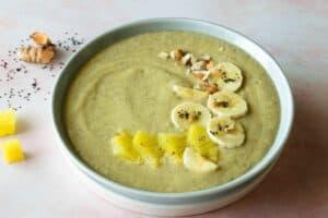 Fresh turmeric tropical smoothie bowl