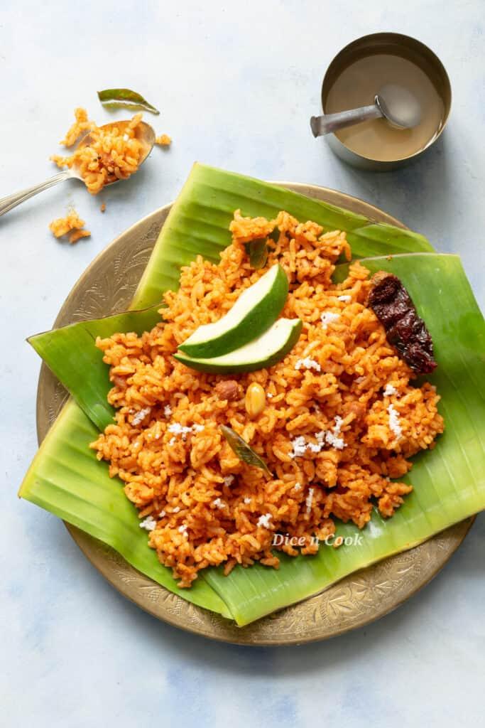 Raw mango coconut mustard rice