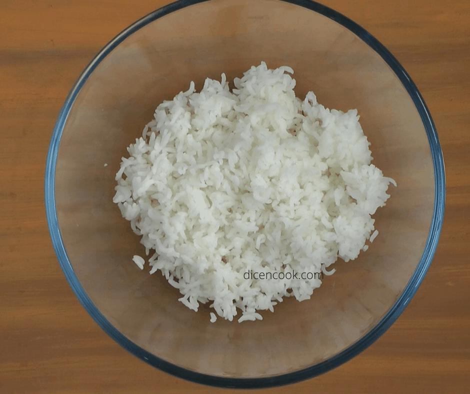 Cooked rice raw mango coconut mustard rice