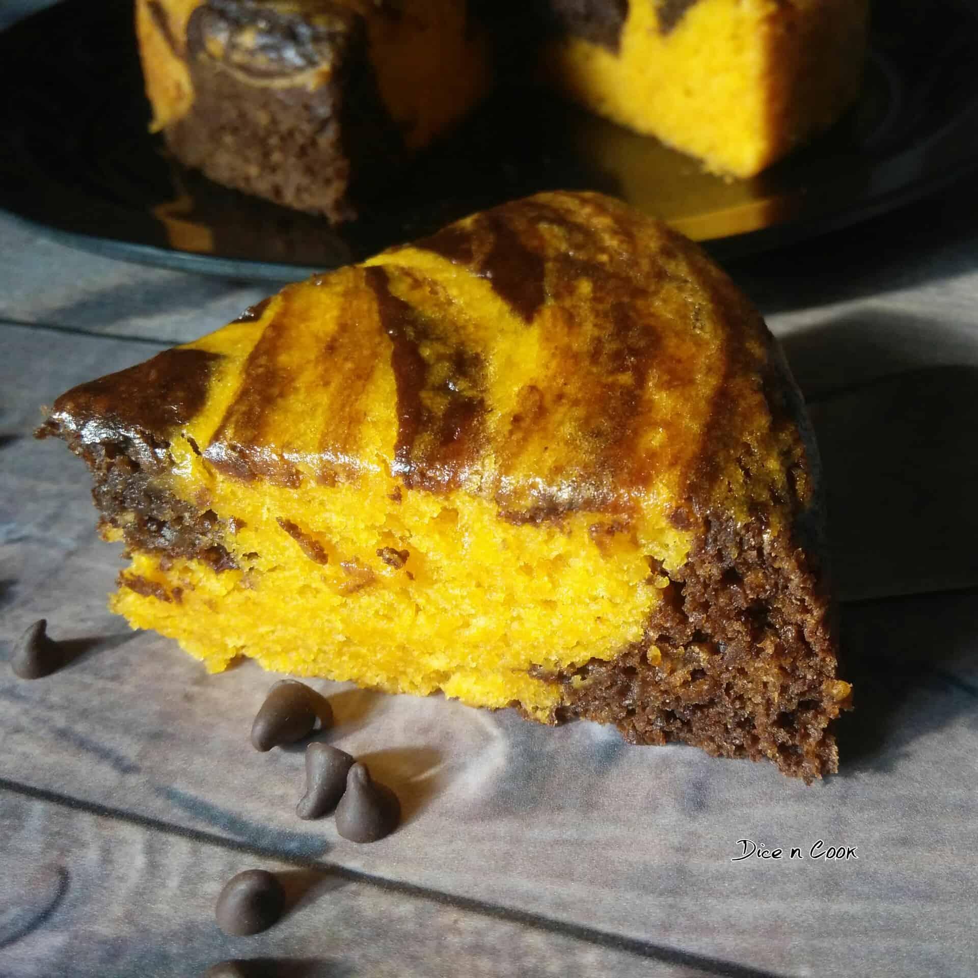 Eggless Mango Chocolate Marble Cake