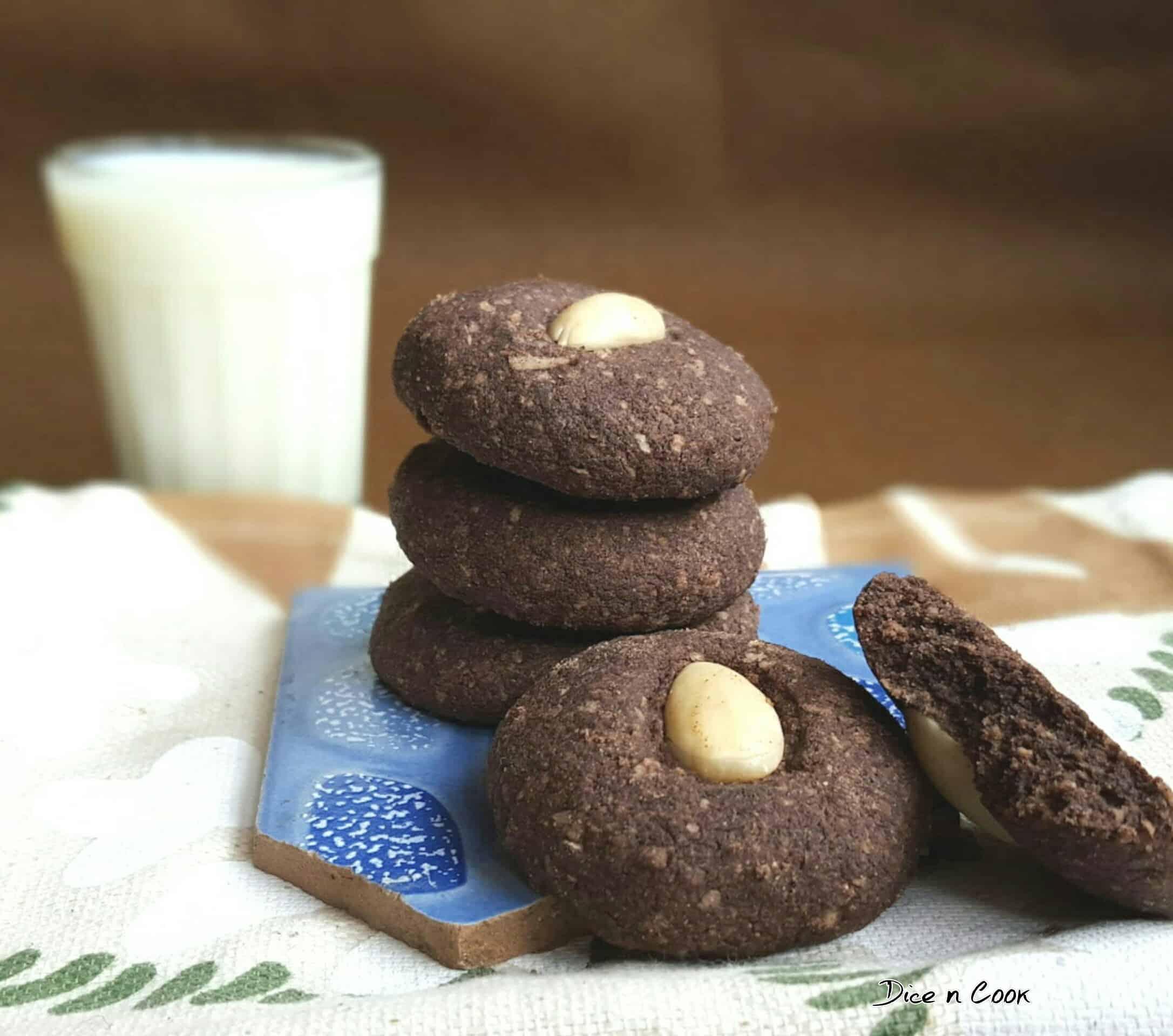 Eggless Ragi Chocolate Ganache Cookies