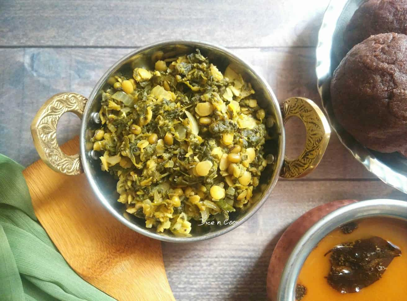 Honagone Soppu (Sessile Joyweed) Green Gram Palya or Stir Fry and Bassaru or Rasam