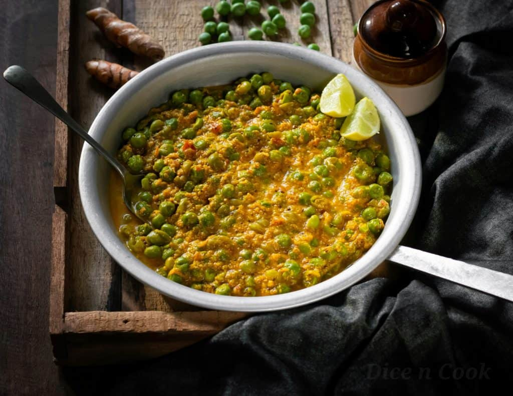 Green Peas Turmeric Curry or Matar Kachhi Haldi Sabzi