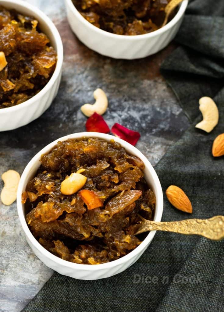 Papaya (unripe) halwa – Learn to make easy refined sugar free halwa