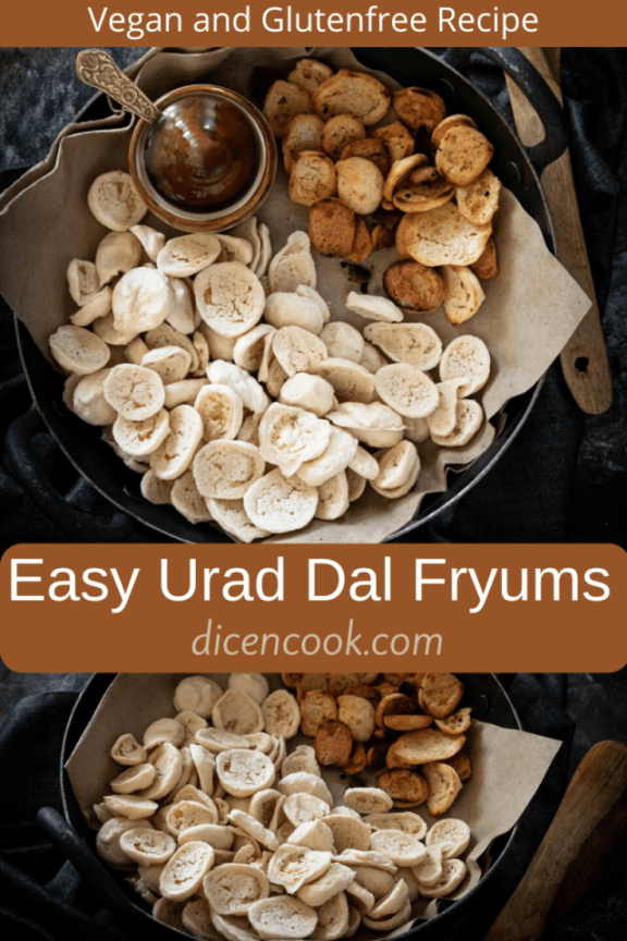 Urad dal fryums or uddina sandige recipe (split de-husked blackgram lentil fryums) is quick and easy to follow. Glutenfree and vegan fryums. Well explained with step by step pictures and a quick video.