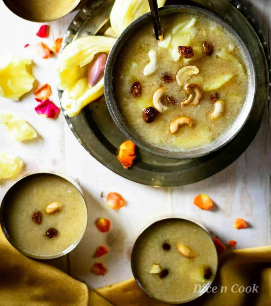 Jackfruit moong dal payasam is a glutenfree dessert from karnataka prepared using ripe jackfruit pieces, split dehusked moong bean. Sweetened with jaggery. #dessert #Karnataka #payasa #glutenfree