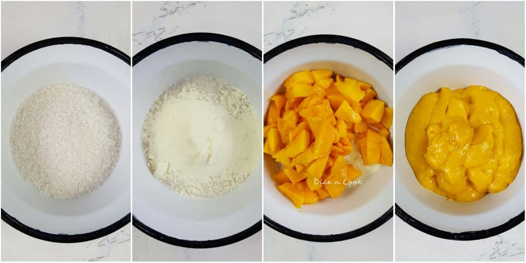 Best mango ice cream with choco chips recipe with step by step pictures and video. This is an ice cream made without ice cream maker. A no churn mango ice cream recipe. #mango #icecream #nochurn #dessert