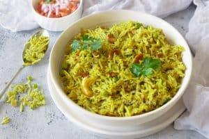 Fresh turmeric coconut rice