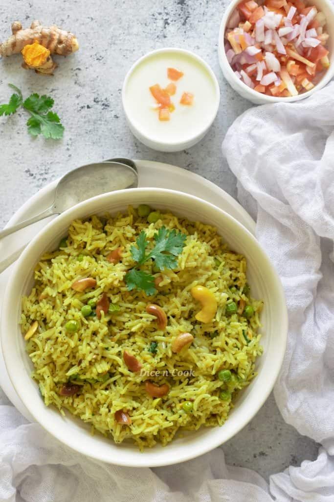 Fresh turmeric coconut rice recipe